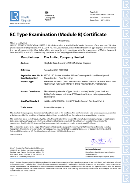 Amtico Marine Module B Certificate
