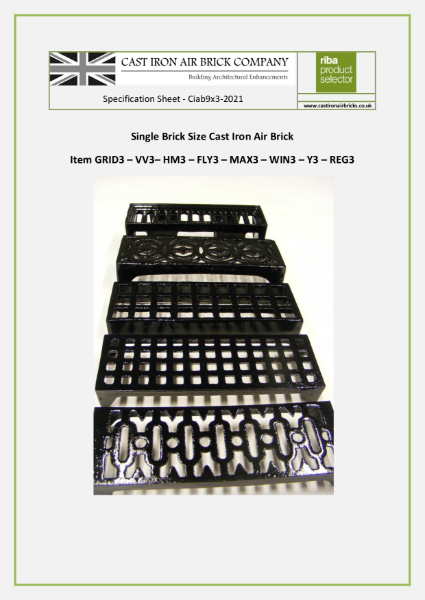 Cast Iron Air Bricks Single Brick Sized (nom 9x3 inch)