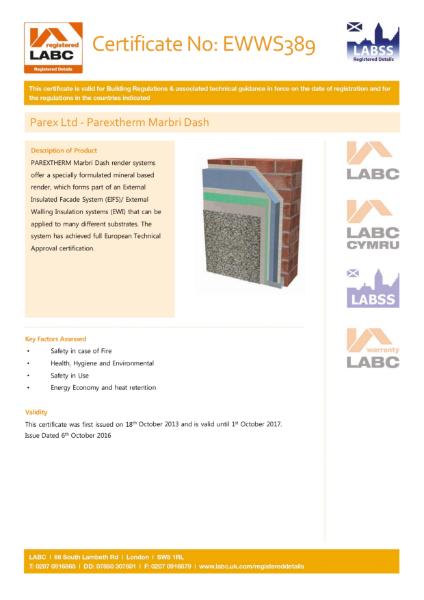 LABC Certificate (ParexTherm Marbri Dash)