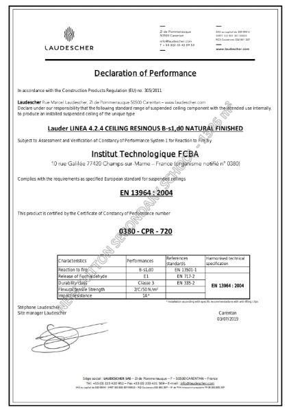 Laudescher Fire Ceiling Certificate