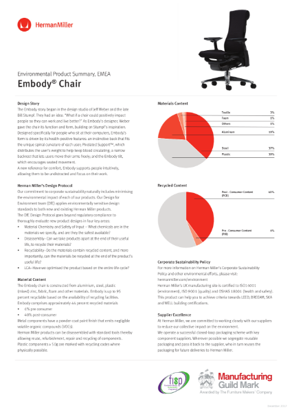 Embody Chair - Environmental Product Summary