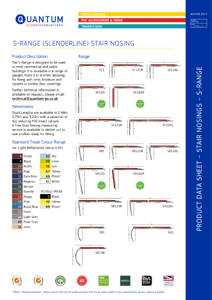 Quantum Flooring Slenderline Range Stair Nosing - Stair Edging (0mm to 3.5mm Floorcoverings) Product Data Sheet