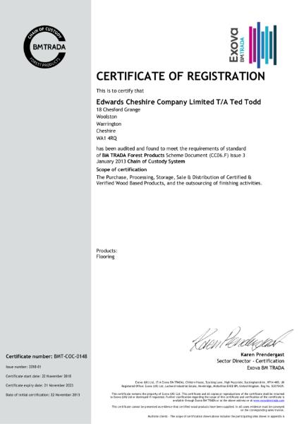 BMTRADA Certificate