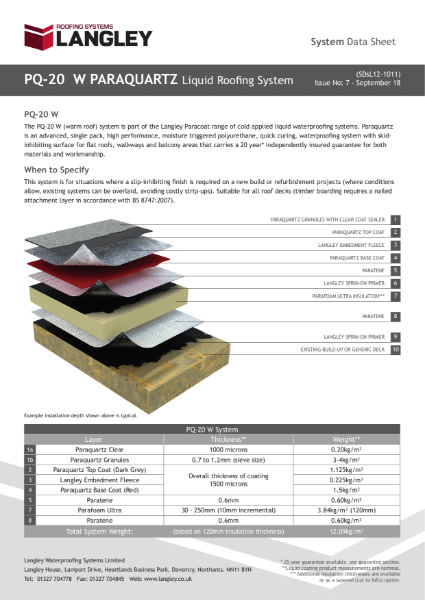 PQ-20 W Paraquartz Liquid Roofing System Data Sheet