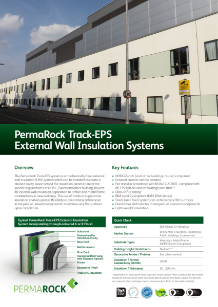 PermaRock Track-EPS (Rail) External Wall Insulation Systems (drained cavity systems to meet the requirements of NHBC, Zurich and other building insurers)