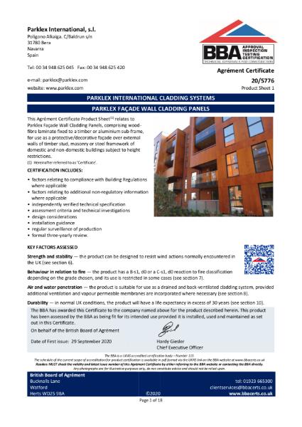 Parklex Facade BBA 2020