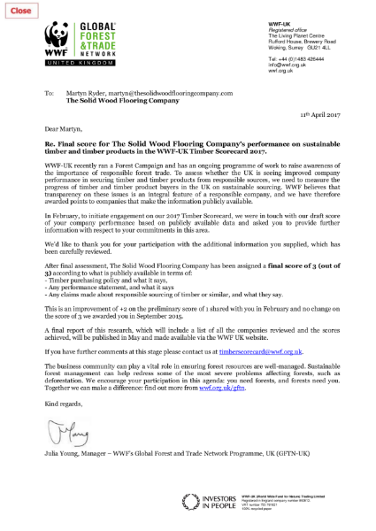 WWF 3 Trees Certificate