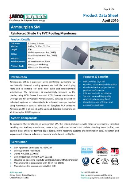 IKO Armourplan SM PVC Single Ply Roofing Membrane datasheet