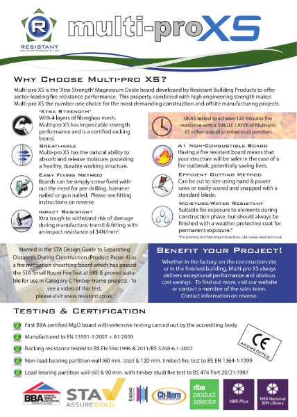 Features & Benefit Sheet Multi-pro XS