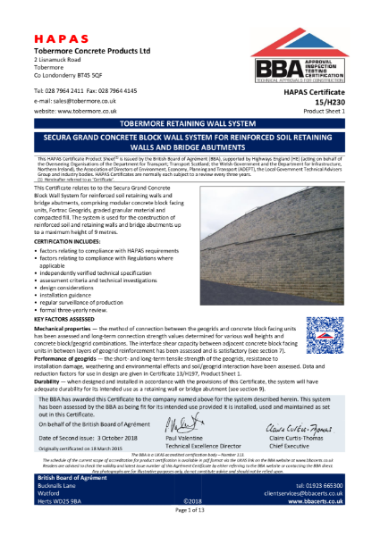 15/H230 Secura Grand Concrete Block Wall System for Reinforced Soil Retaining Wall and Bridge Abutments