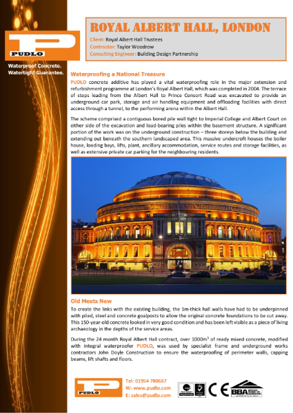 Royal Albert Hall waterproofed by PUDLO