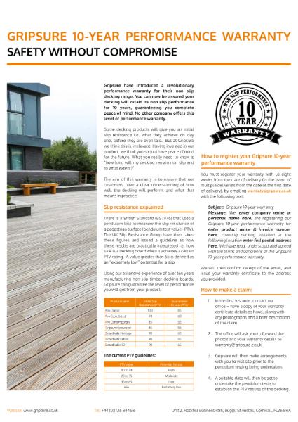 Gripsure 10-year non-slip performance warranty