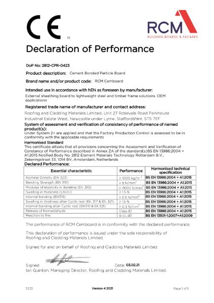 Declaration of Performance - Cemboard