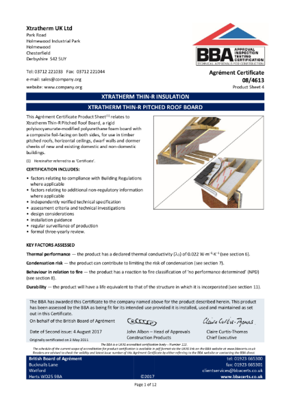 08/4613 Xtratherm Thin-R Pitched Roof Board (Product Sheet 4)