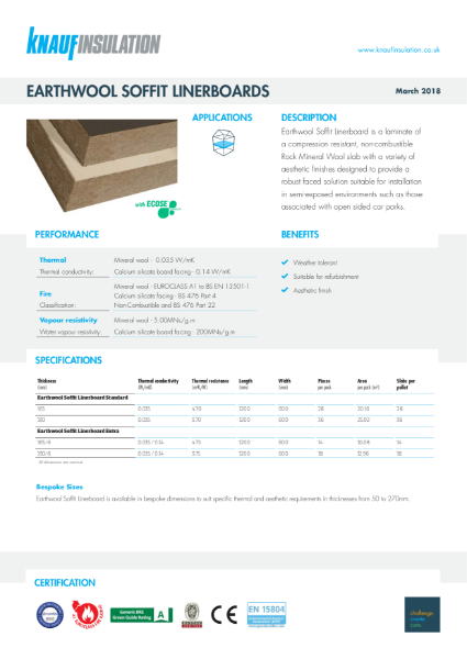 Knauf Insulation Soffit Linerboard Standard Insulation Data Sheet