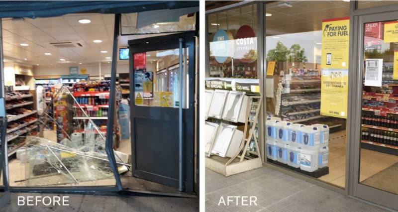 Installation of an Attack Resistant Enhanced Shop-front to a previously damaged Petrol Forecourt