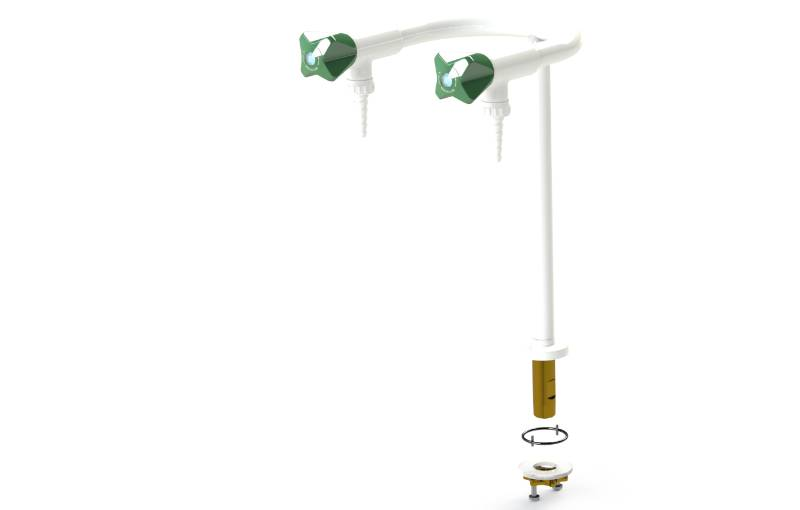 Table mounted laboratory two-way pillar water bib tap