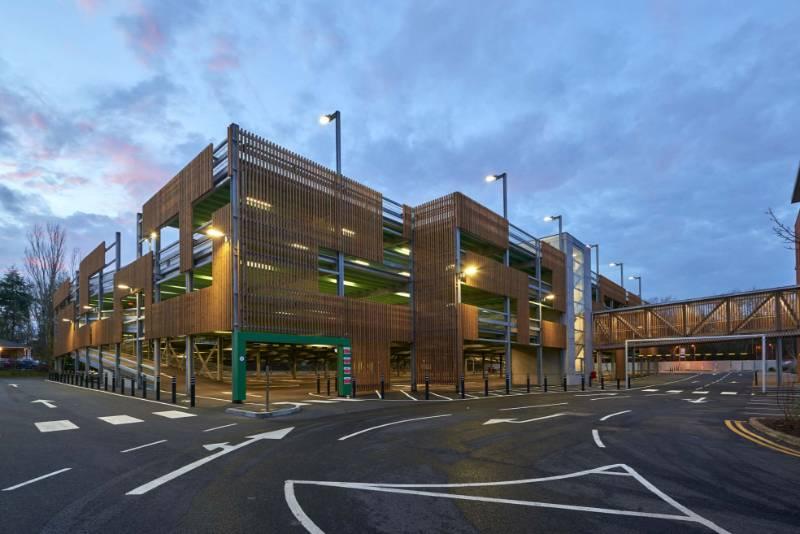 Brunnea treated Redwood Timber Cladding - NORclad - Tesco Car Park