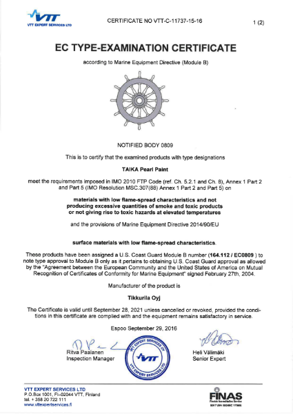 MED / IMO CERTIFICATE - TAIKA PEARL PAINT