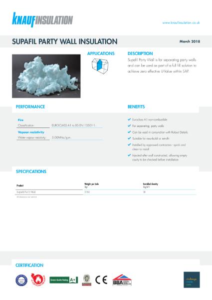 Knauf Insulation Supafil® Party Wall Insulation Data Sheet