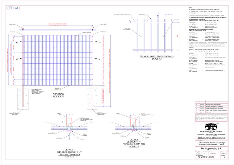 Lochrin FlatGUARD SL1 Mesh Technical Drawing