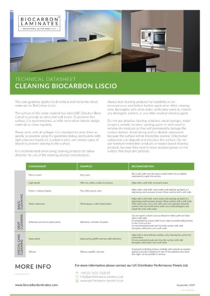 BioCarbon Laminates Liscio Cleanability datasheet