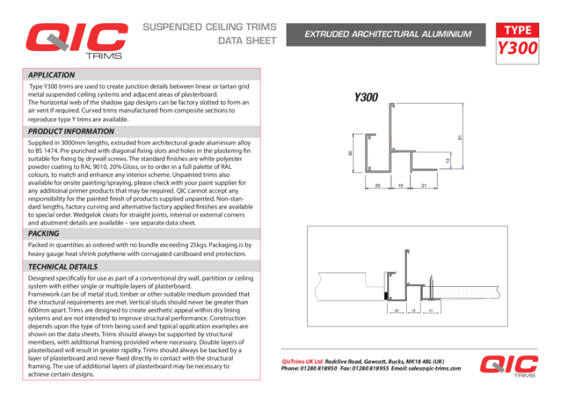 QIC Transition trims Metal ceiling