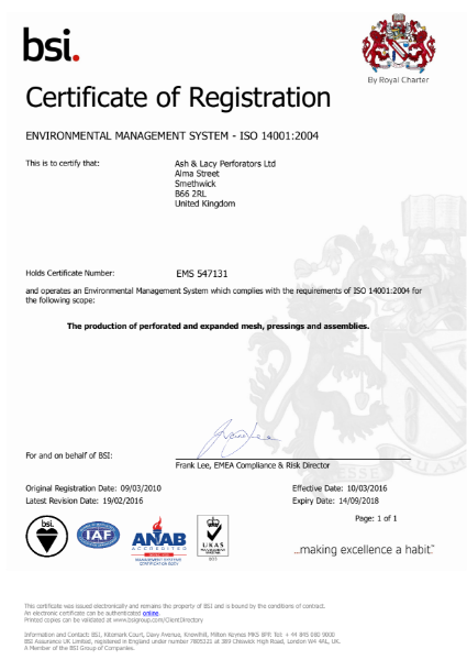 ISO 14001:2004 Certificate (Smethwick)