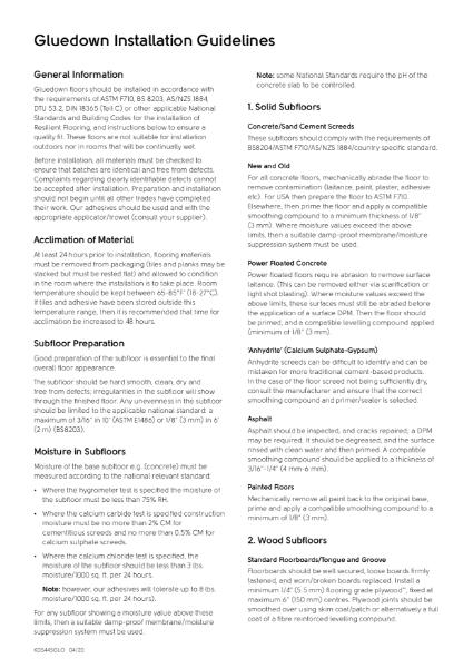 Gluedown Installation Guidelines