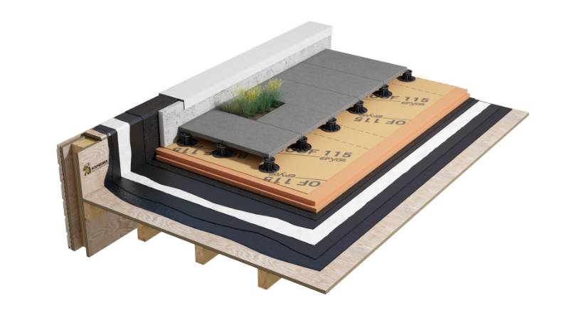 Duoflex - Double Pour Hot Melt inverted roof system on wood with paving slabs (WPT1XPHBNA_001)