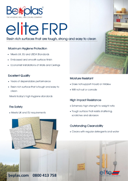 Beplas Elite FRP Hygienic Fibreglass Wall Cladding
