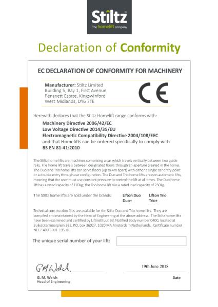 Declaration of Conformity - Stiltz+ product range