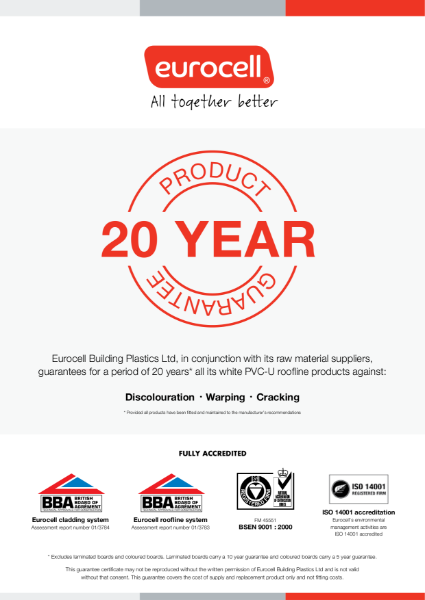 Eurocell Building Plastics 20 Year Product Guarantee