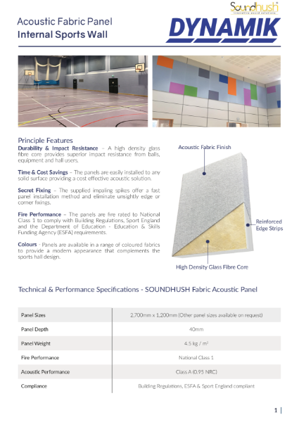 Soundhush Acoustic Fabric Sports Panel