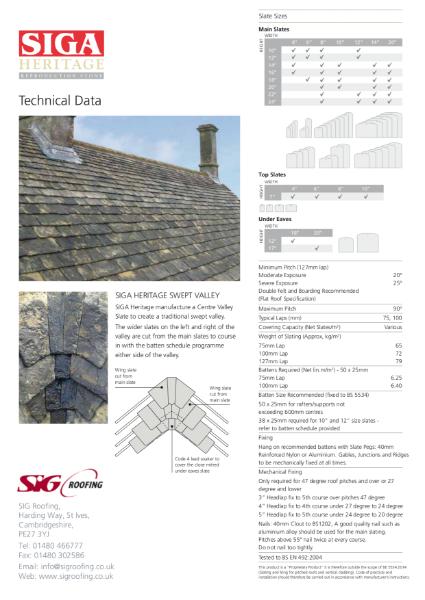 SIGA Heritage Reproduction Stone Data Sheet