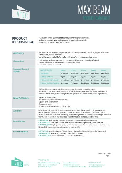 MaxiBeam - Lightweight Feature Beam System - Data Sheet