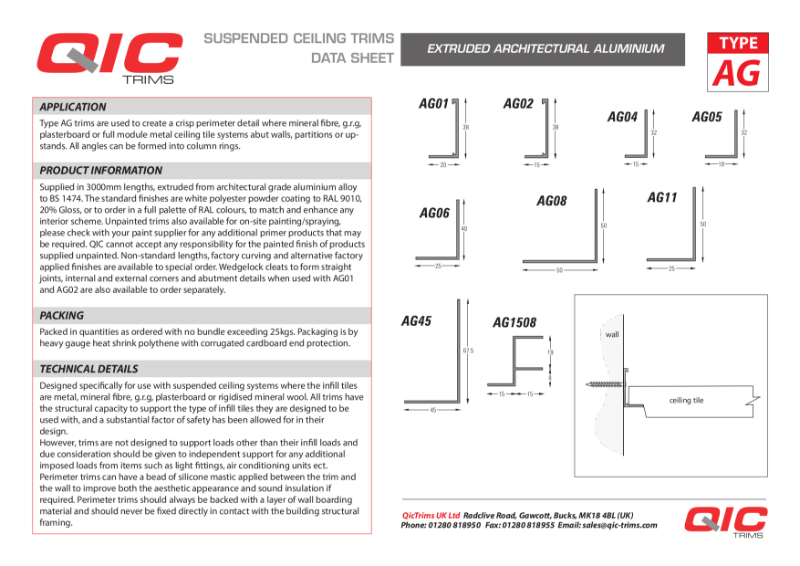 Perimeter Angle products Suspended Ceilings