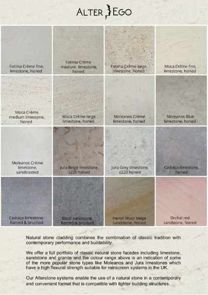Stone Cladding: Colour Range for natural Stone Rainscreen cladding
