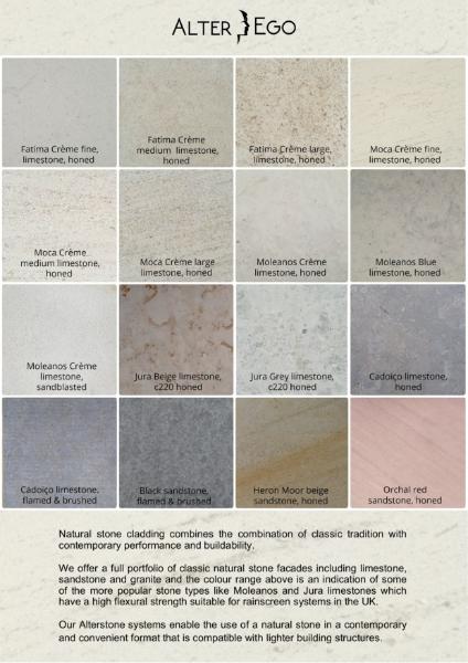 Stone Cladding: Colour Range for natural Stone Rainscreen cladding