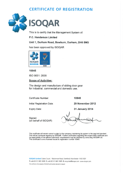BS EN ISO 9001:2008 Certificate