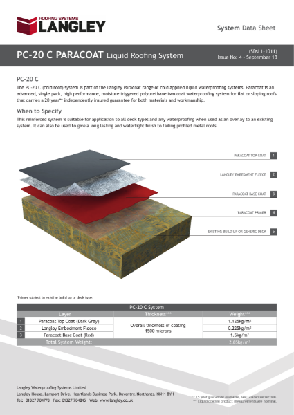 PC-20 C Paracoat Liquid Roofing System Data Sheet