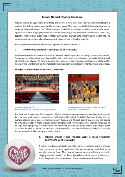Indoor Netball Flooring Guidance
