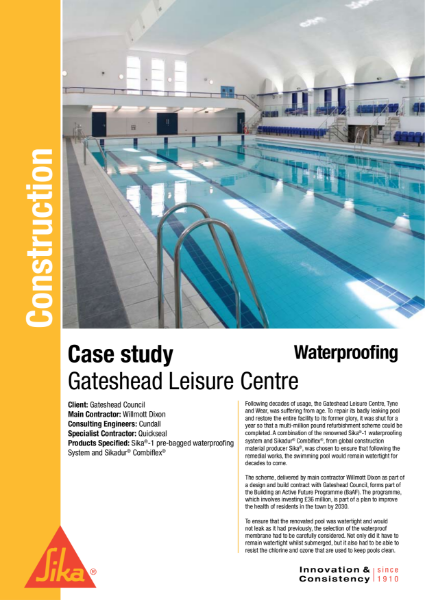 Waterproofing Gateshead Leisure Centre Case Study