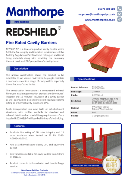 REDSHIELD Fire Rated Cavity Barriers