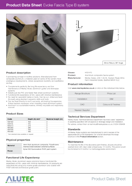 Marley Alutec Product Data Sheet Evoke Fascia Type B