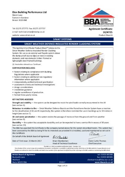 10/4725 PAREXTHERM on cavity rail & Siniat Weather Defence Board