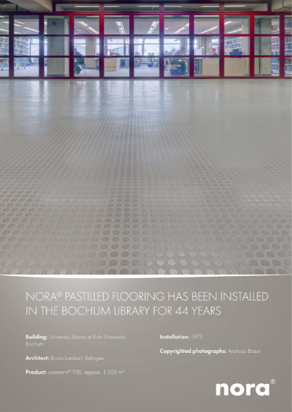 nora pastille flooring has been installed in the Bochum library for 44 years