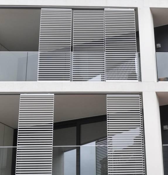 Apartment block Sint-Niklaas - Solar Shading Sliding Panels