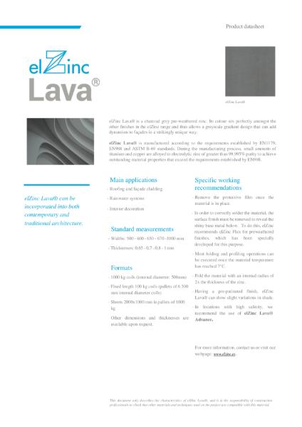 elZinc Lava Pre-weathered Zinc Datasheet