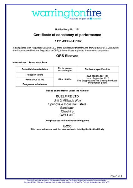 Fire Sleeves Certificate